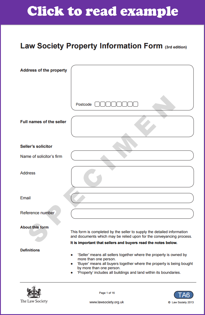 Property Information Form TA6 explained - news | SAM Conveyancing