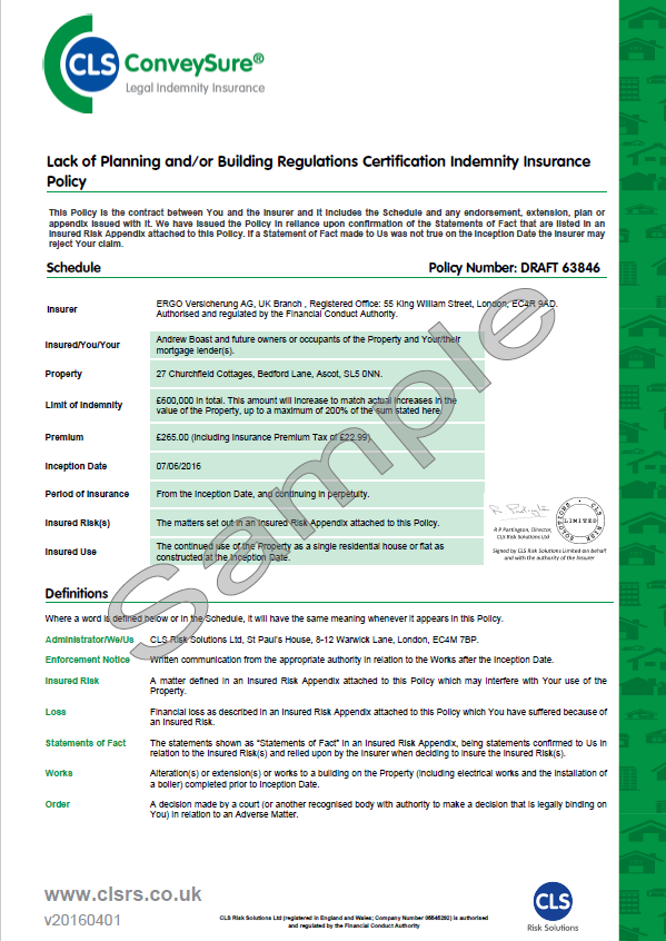 Indemnity Insurance Building Regulations