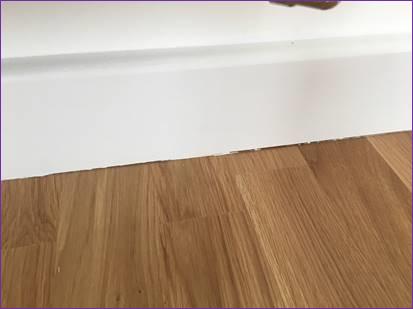 Snagging Survey where skirting board not flush